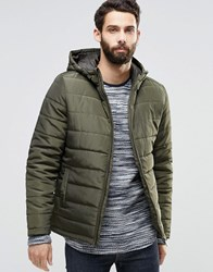 Only And Sons Hooded Quilted Jacket Khaki Green