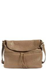 Elizabeth And James 'James' Large Grain Leather Crossbody Hobo Grey Koala
