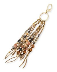 Nakamol Crystal And Leather Fringe Key Chain Gold