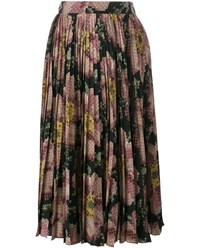 Gucci Floral Printed Silk Pleated Skirt Black Multi Coloured Green