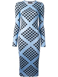House Of Holland Diamond Print Spotted Dress Blue