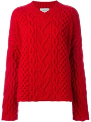 Lanvin Cable Knit V Neck Jumper Red