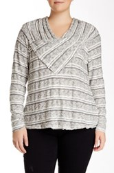 Democracy Long Sleeve Novelty Textured Pullover Plus Size Gray