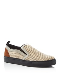 Msgm Woven Straw Slip On Sneakers Beige