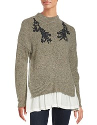French Connection Embroidered Wool Blend Sweater Brown