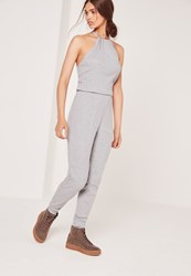 Missguided Ribbed Halter Neck Jumpsuit Grey Grey