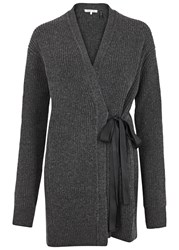 Helmut Lang Charcoal Wool And Cashmere Blend Cardigan