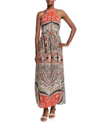 Etro Halter Neck Printed Maxi Dress Red Women's