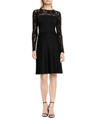 Vince Camuto Petite Long Sleeve Burnout Flare Sweater Dress Black