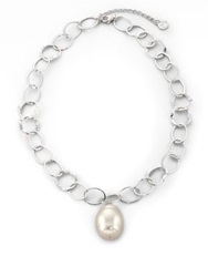 Majorica 22Mm White Baroque Pearl And Sterling Silver Chain Drop Pendant Necklace