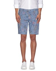 Manuel Ritz White Trousers Bermuda Shorts Men Slate Blue