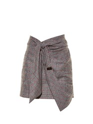 Isabel Marant Kim Knot Front Prince Of Wales Checked Skirt Grey Multi