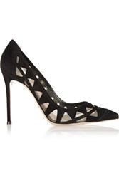 Gianvito Rossi Mesh Paneled Suede Pumps Black