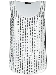 Twin Set Sequinned Tank Top White