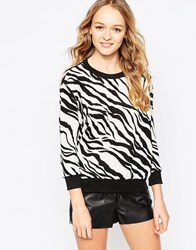 Madam Rage Jumper In Zebra Print Black White