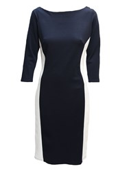 Feverfish Illusion Contrast Dress Navy