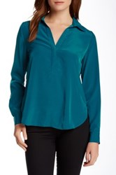 Zoa Roll Sleeve Collared Blouse Blue