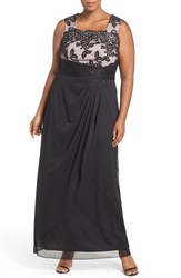 Alex Evenings Plus Size Women's Embroidered Bodice Long A Line Dress