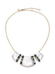 Alexis Bittar Sport Deco Lucite And Crystal Bib Necklace Gold Multi