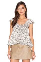 J.O.A. Sleeveless Floral Blouse Gray