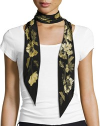 Rockins Floral Super Skinny Silk Scarf Gold Black