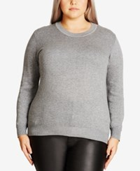 City Chic Trendy Plus Size Cutout Back Sweater Grey