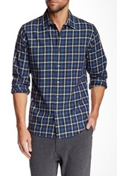 Relwen Brushed Plaid Worker Long Sleeve Classic Fit Shirt Blue