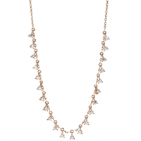 Stone 18Kt Rose Gold Infinity Necklace With White Diamonds Pink Gold With Diamonds
