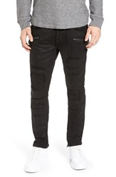 Rock Revival Men's Destroyed Coated Skinny Fit Moto Jeans
