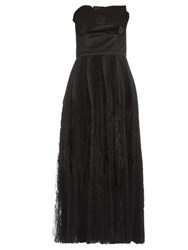 Alexander Mcqueen Strapless Fan Pleated Silk Dress Black