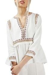 Topshop Women's Embroidered Peplum Peasant Blouse