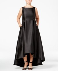 Adrianna Papell Plus Size High Low Ball Gown Black