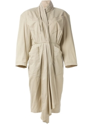 Thierry Mugler Vintage Pleated Scarf Collar Dress
