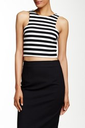 Necessary Objects Cutaway Shoulder Printed Crop Top White