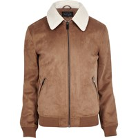River Island Mens Tan Faux Suede Borg Collar Jacket