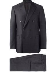 Canali Prince Of Wales Classic Suit Grey