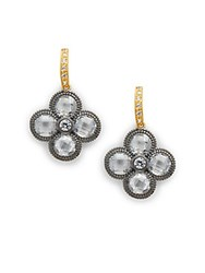 Freida Rothman Cubic Zirconia And 14K Gold Plated Four Clover Drop Earrings
