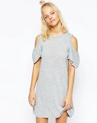 Asos Knitted Dress With Ruffle Cold Shoulder Gray