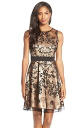 Women's Gabby Skye Flocked Lace And Scuba Fit And Flare Dress