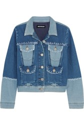 House Of Holland Patchwork Stretch Denim Jacket Mid Denim