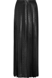 Valentino Crystal Embellished Leather Maxi Skirt Black