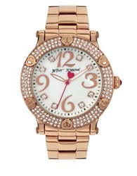 Betsey Johnson Crystal And Heart Accent Bezel Rose Gold Watch Bj0022905