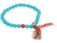 Chan Luu 7 Turquoise Mix Tassle Charm Stretchy Single Bracelet Turquoise Mix Bracelet Blue
