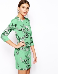 Asos Rose Mirror Floral Print Bodycon Dress Mint