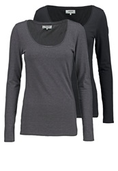 Zalando Essentials 2 Pack Long Sleeved Top Black Dark Grey Mottled Dark Grey