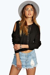 Boohoo Cut Out Shoulder Crop Jumper Black