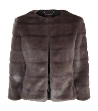 Ted Baker Cropped Faux Fur Coat Female Chocolate