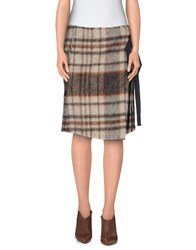 M.Grifoni Denim Skirts Knee Length Skirts Women Khaki
