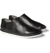 Marsell Washed Leather Loafers Black