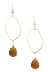 Cara Accessories Freeform Cutout And Teardrop Stone Drop Earrings No Color